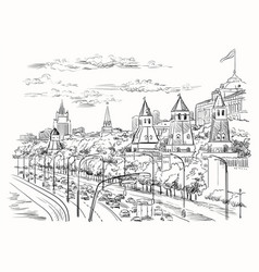 hand drawing moscow-2 vector image