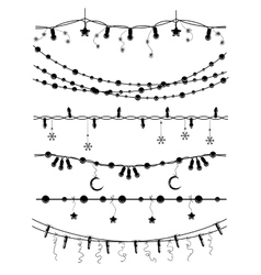 Hand drawn christmas garlands vector