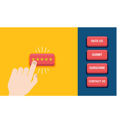 Hand press the star button customer review vector
