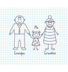 happy grandparents and granddaughter childrens vector image