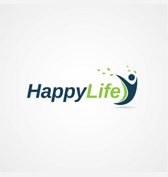 happy life people logo symbol vector image