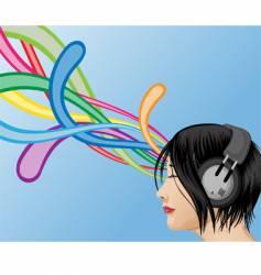 headphone girl vector image