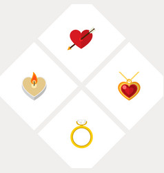 icon flat amour set of ring pendant arrow and vector image