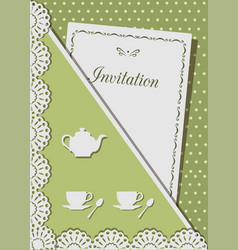 Invitation card for tea decorated with laceon vector