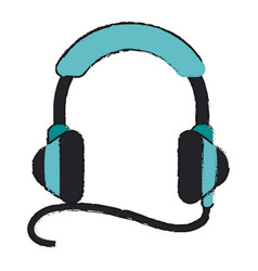 isolated headphones with cord icon imag vector image