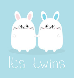Its twins boy girl two cute twin bunny rabbit set vector