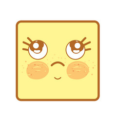 kawaii thinking face with eyes and cheeks vector image