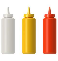 Ketchup mustard mayo plastic squeeze bottle vector