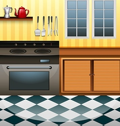 Kitchen with microwave and counter vector
