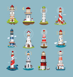 lighthouse beacons sea light house cartoon icons vector image