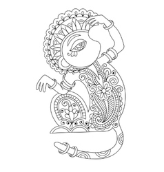 line art drawing of ethnic monkey in decorative vector image