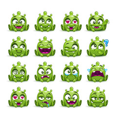 little cute funny green alien set vector image