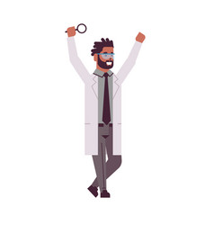 male scientist raising hands with magnifying glass vector image