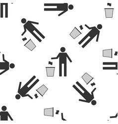 man throwing trash into dust bin seamless pattern vector image