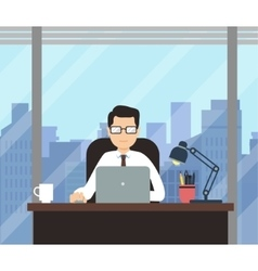 Man with laptop in office room with big window vector image