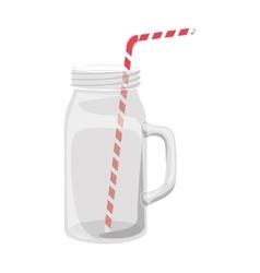 Mason jar with straw vector