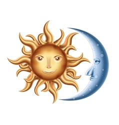 Moon and Sun vector image