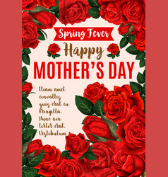 mother day greeting card with rose flower bouquet vector image