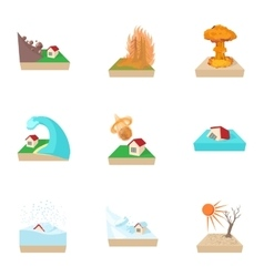 Natural catastrophe icons set cartoon style vector
