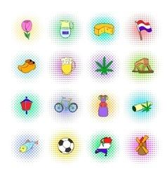Netherlands icons set pop-art style vector