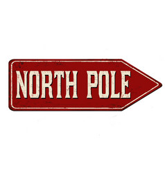 North pole vintage rusty metal sign vector