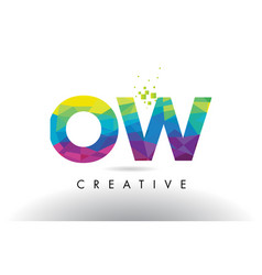 ow o w colorful letter origami triangles design vector image