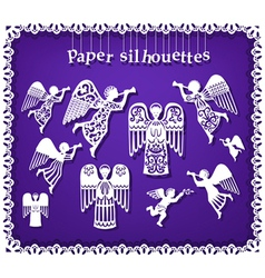 Paper silhouettes of angels vector image