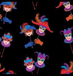 Pattern of venetian carnival masks vector