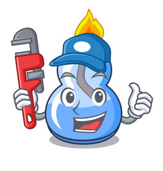 Plumber alcohol burner mascot cartoon vector