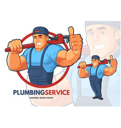 Plumber character design with strong big arms vector
