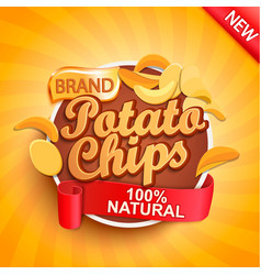 potato chips on gold sunburst background vector image