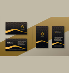 premium dark golden business card designs set vector image