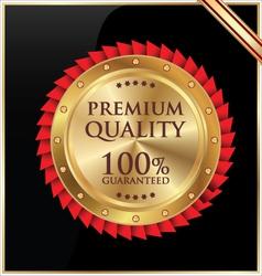 Premium quality golen label vector image
