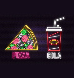 Retro neon cola and pizza sign on brick wall vector