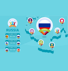 russia natioanal team matches on isometric map vector image