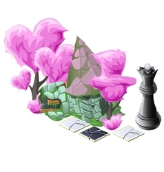 Scenery with pink topiary trees chess and house vector image