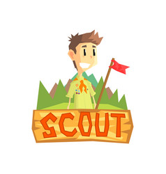 Scout banner template scouting boy with flag vector