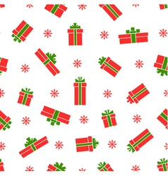 Seamless gift box pattern red gift boxes vector image