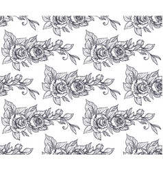 seamless pattern with graphic rose flowers vector image