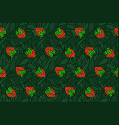 Seamless pattern with red strawberry on the leaves vector