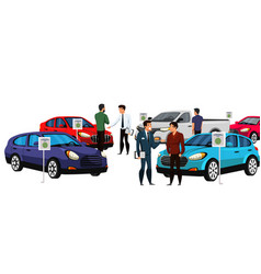 Sellers and potential buyers group in car showroom vector