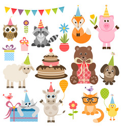 set different animals on birthday party vector image