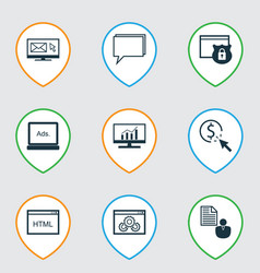Set of 9 marketing icons includes conference vector