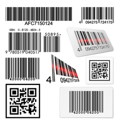 Set of bar codes and qr codes with labels vector