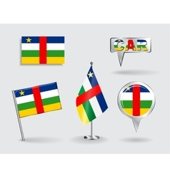 Set of CAR pin icon and map pointer flags vector image