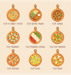 Set of italian pizza on wooden boards vector