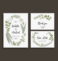 Set of wedding cards with leaves herbs and flowers vector