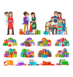 set people giving present boxes and gifts vector image