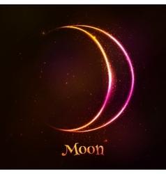 Shining neon light moon astrological symbol vector