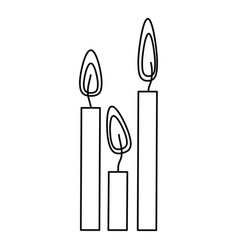 Silhouette canddles with fire icon vector